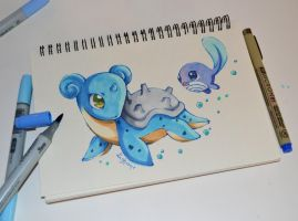 Lapras playing with Polywag