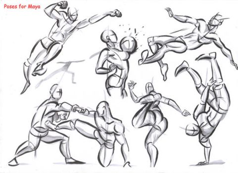 fighting poses for maya10 by AlexBaxtheDarkSide