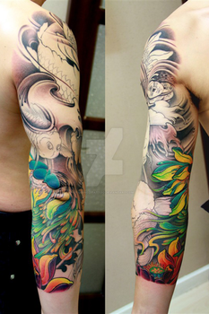 Traditional Chinese sleeve tattoo by qiangzitattoo