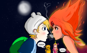 Finn and Flame (ADVENTURE TIME) :SKETCH: by Spencer-Bowen
