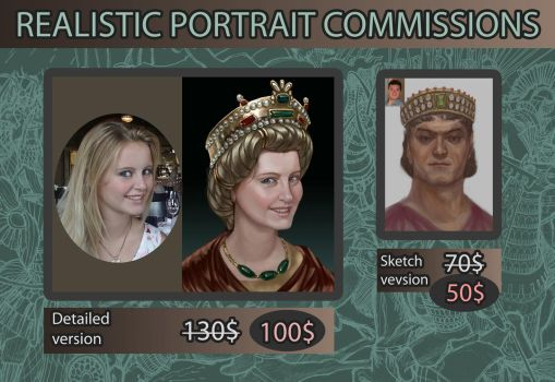 Realistic portrait commissions by Simulyaton