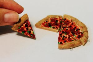 Polymer Clay Pizza Charms. by Darxen