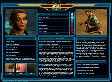 SWTOR Character Sheet - Shahra by Skyflower51