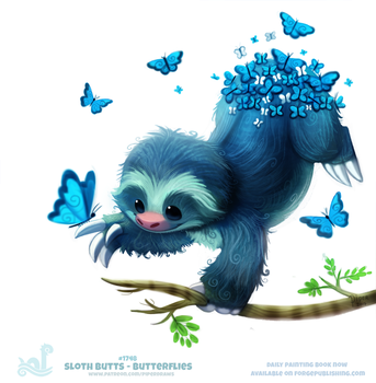 Daily Painting 1748#  Sloth Butts - Butterflies by Cryptid-Creations