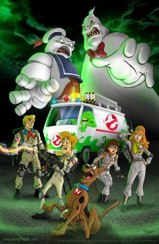 Scooby and the gang as Ghostbusters old and new! by darrinbrege