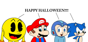 Video game characters wishing Happy Halloween by MarcosPower1996