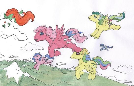 Flight of Ponies by foxspotted