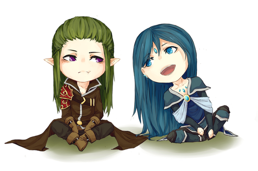 chibi commission :: Axel and Elean by ReroPumpkin
