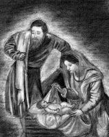 Mary, Joseph, and baby Jesus by AinuLaire