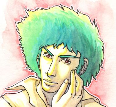 Spike Spiegel fan art - face by Hannah-Hayashi