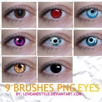 10 PNG EYES COLORS BRUSHES by loveandstyle