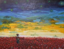Sunset over a field of flowers by gold-paroles
