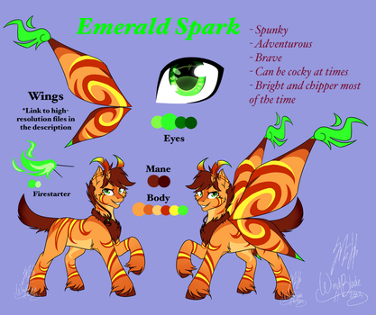OC Reference - Emerald Spark (2017) by WindBlade2313