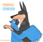 Alphadoberman and blu freinds forever:gift drawing by HomeOfBluAndshadows
