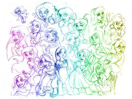 Sketch: Disney Girls by McManamanimation