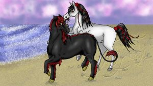 Celeste And Rhios At The Beach by FierceFilly