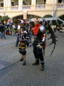 Sora and Cloud cosplay by Apocaly