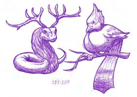 Daily Sketch 2 - Reindeer snake and butt bird by YikYik