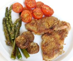 Parmesan Crusted Chicken with Roasted Vegetables by Kitteh-Pawz