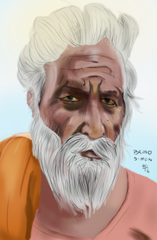 Old Man Semi Realistc Portrait by brusife