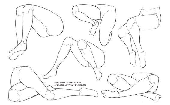 Legs sitting poses by Sellenin