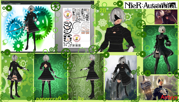 NieR Automata 2B papercraft by Antyyy