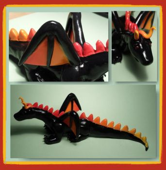 Black Dragon made from polymer clay by polymerpets