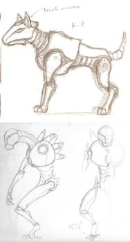 K-9 and Prometheus Sketches by HeimdalDagsson