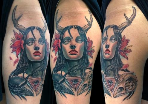 girl with crows tattoo by bhbettie