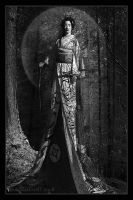 Geisha With A Sword BW by Rickbw1