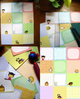 Pigtails Square Stationery by jazgirl