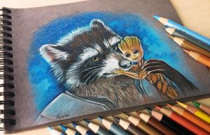 Groot and Rocket by AlviaAlcedo