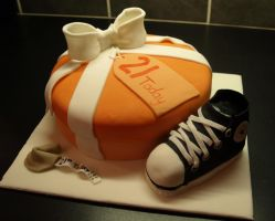 21st Gift Box Cake by sparks1992