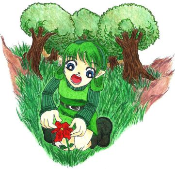 Saria finding a red flower by kristalwaterfairy