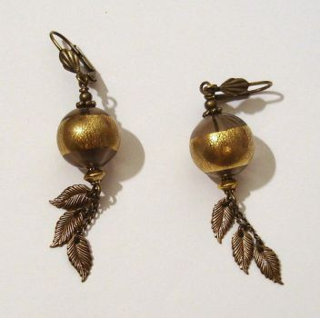Earrings Hollow foiled beads and leaves by Magic-Jewels