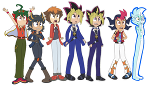 Protag 5 (Plus Yami and Astral) by JanethePegasus