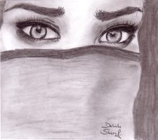 Eyes behind a scarf by Dalilama