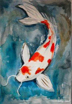 Koi karp/ Fish Koi watercolor by Ashley2020