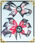 Nightmare Before Christmas Hair Bows by wolf-girl87