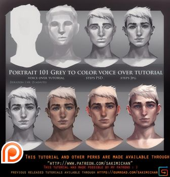 Portrait 101 Grey to Color Voice Over Tutorial . by sakimichan