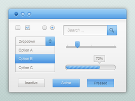 Blue and white GUI kit PSD by emey87