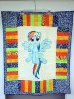 Rainbow Dash Quilt Front by reluctantbrony