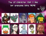 Top 10 characters I like but everyone hates MEME by Championx91
