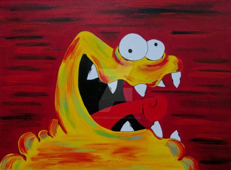 Cute Yellow Monster Painting by ToniTiger415