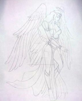 Warrior Angel Tattoo Commission by TheGuardianDragon
