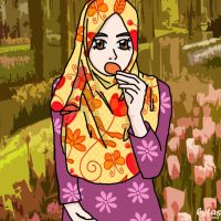 muslimah eating cookies by budoxesquire