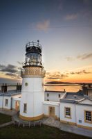 Sumburgh Lighthouse at Sunset by Sagereid