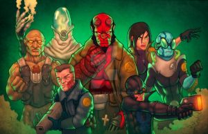 Hellboy and crew by MARR-PHEOS