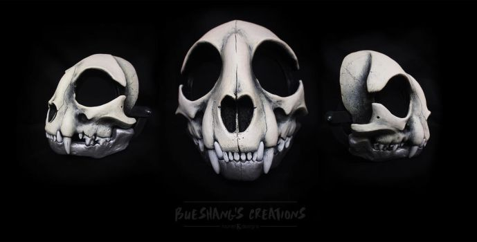 Custom Cat Skull Mask - Bone n Silver by Bueshang