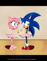 Sonic and Amy in tutu by SweetSilvy
